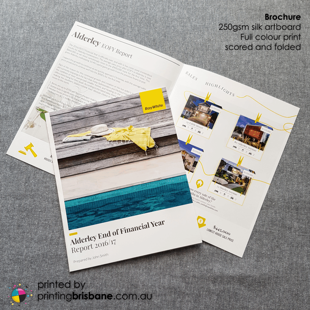 Are you a real estate agent in need of a quality sales report to hand to prospective clients? This might be the brochure for you - 250gsm silk artboard, scored and folded and full colour print. Helping you stand out from the crowd!