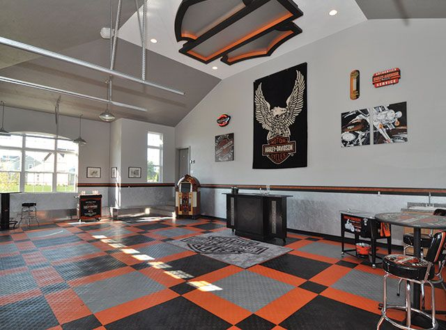 Harley davidson home flooring garage floors by racedeck for Man cave garage floor ideas