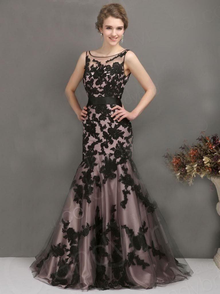 Awesome black appliques wedding evening party gowns sheer long