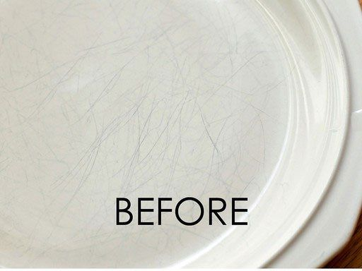 How to clean scratch marks off of dinnerware. Products to use: Bon Ami, Bar Keeper's Friend Liquid Cleaner (and the powder form of the Bar Keeper's Cleanser), Clorox 2 Stain Fighter pen, Ajax Powder, or Arm & Hammer Baking Soda products (toothpaste or a paste mix of plain Baking Soda and water). Try on the back of the plate first. Found on Apartment Therapy.