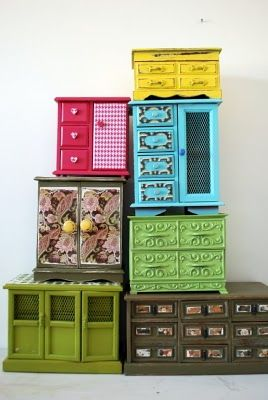 recycled vintage jewelry boxes! we see these at thrift stores/garage sales all the time!