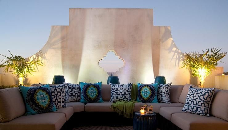 Moroccan Style Outdoor Living Space Is Filled With A U