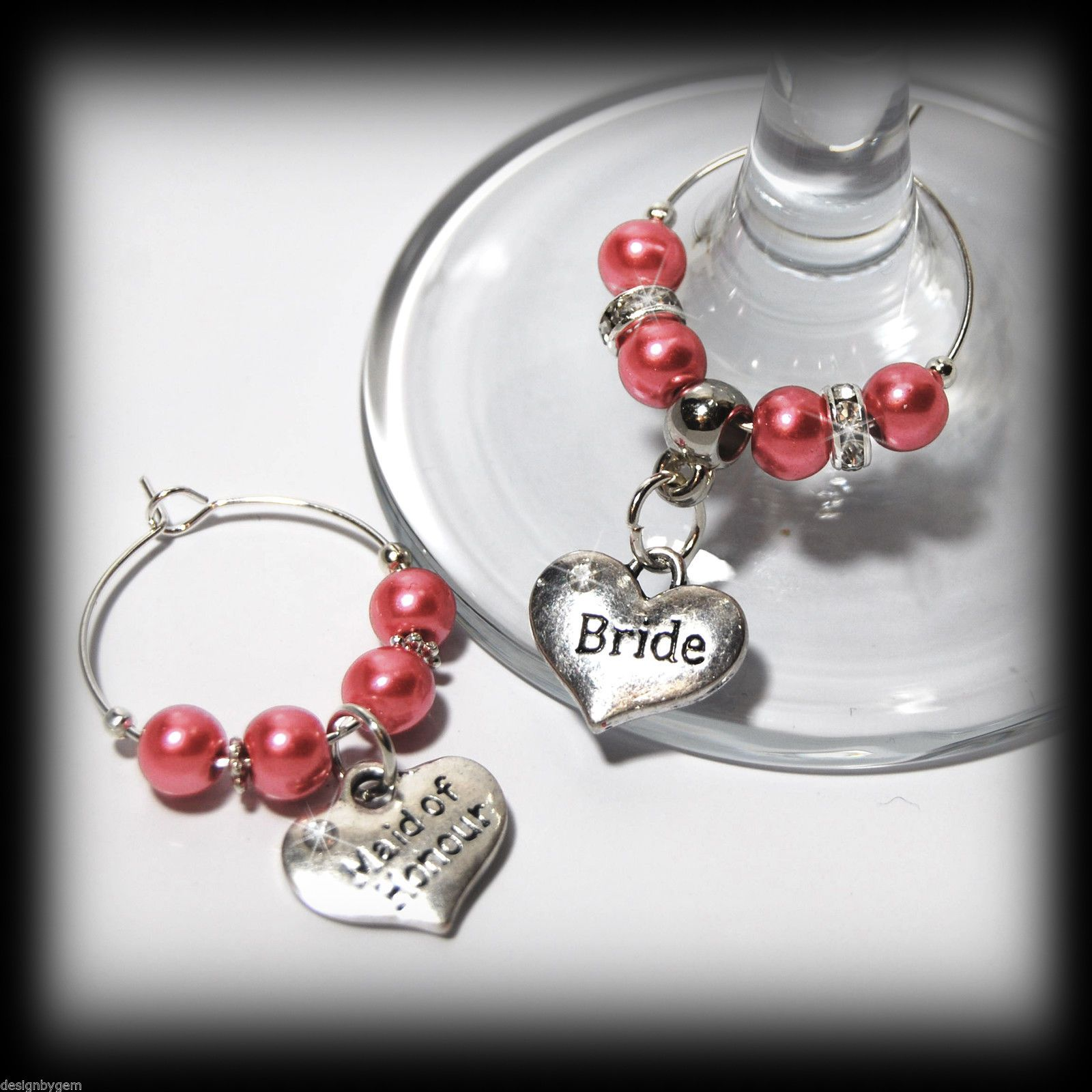 Beautiful Salmon pink wedding wine glass charms for top table or ...