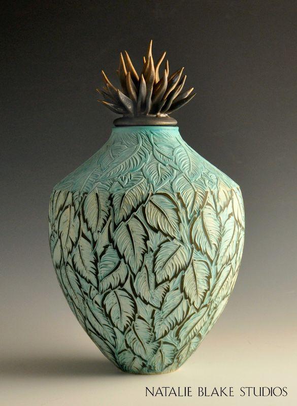 Sophisticated And Elegant Leave Sgraffito Carved Ceramic Memorial - Ceramic memorial photos