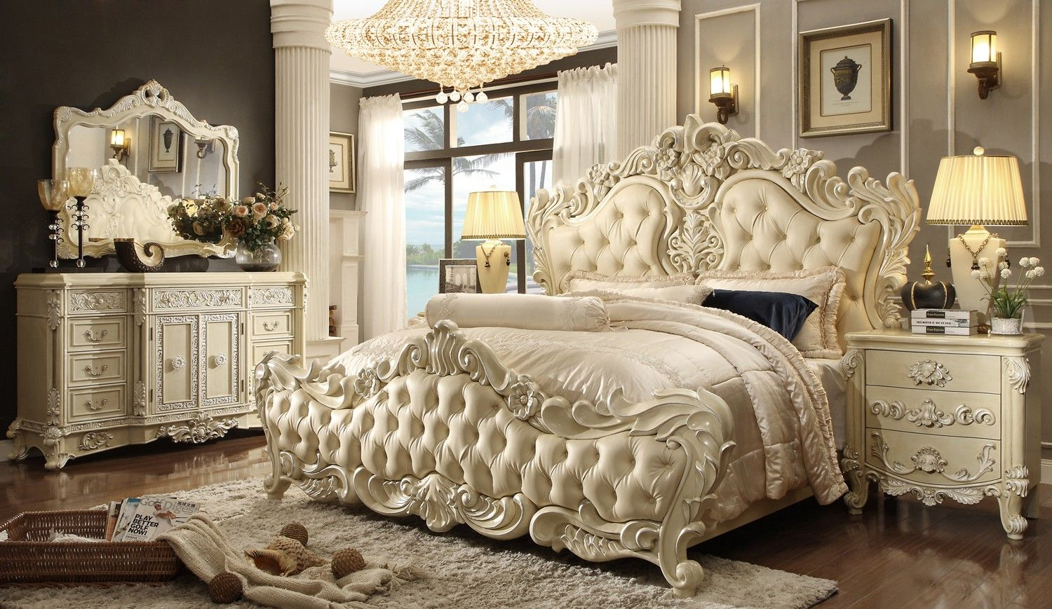 HOMEY DESIGN HD 5800TRADITIONAL VICTORIAN LUXURIOUS 5 PCS KING BEDROOM SET