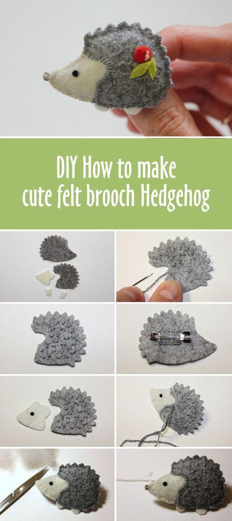 How to make cute felt brooch hedgehog #how-to #tutorials #felttoys #sewing