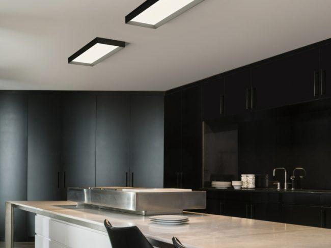 led-deckenleuchten-rechteckig-schwarz-rahmen-kueche-weiss-tisch - deckenleuchten led küche