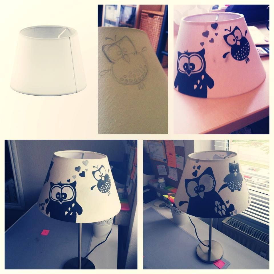 Lampenschirm bemalen ideas eulen lampe basteln und lampen - Lampe kinderzimmer basteln ...