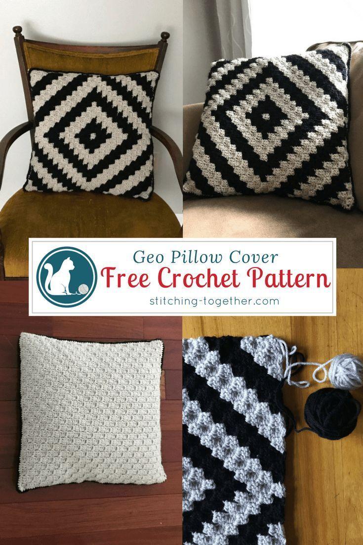 Geo crochet pillow cover free crochet corner and crochet free crochet pattern for a beautiful and trendy pillow cover easy corner to corner bankloansurffo Gallery