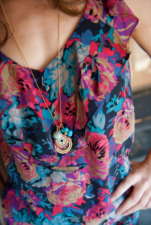 Bloom charm necklace flamingo jewelry statement charm