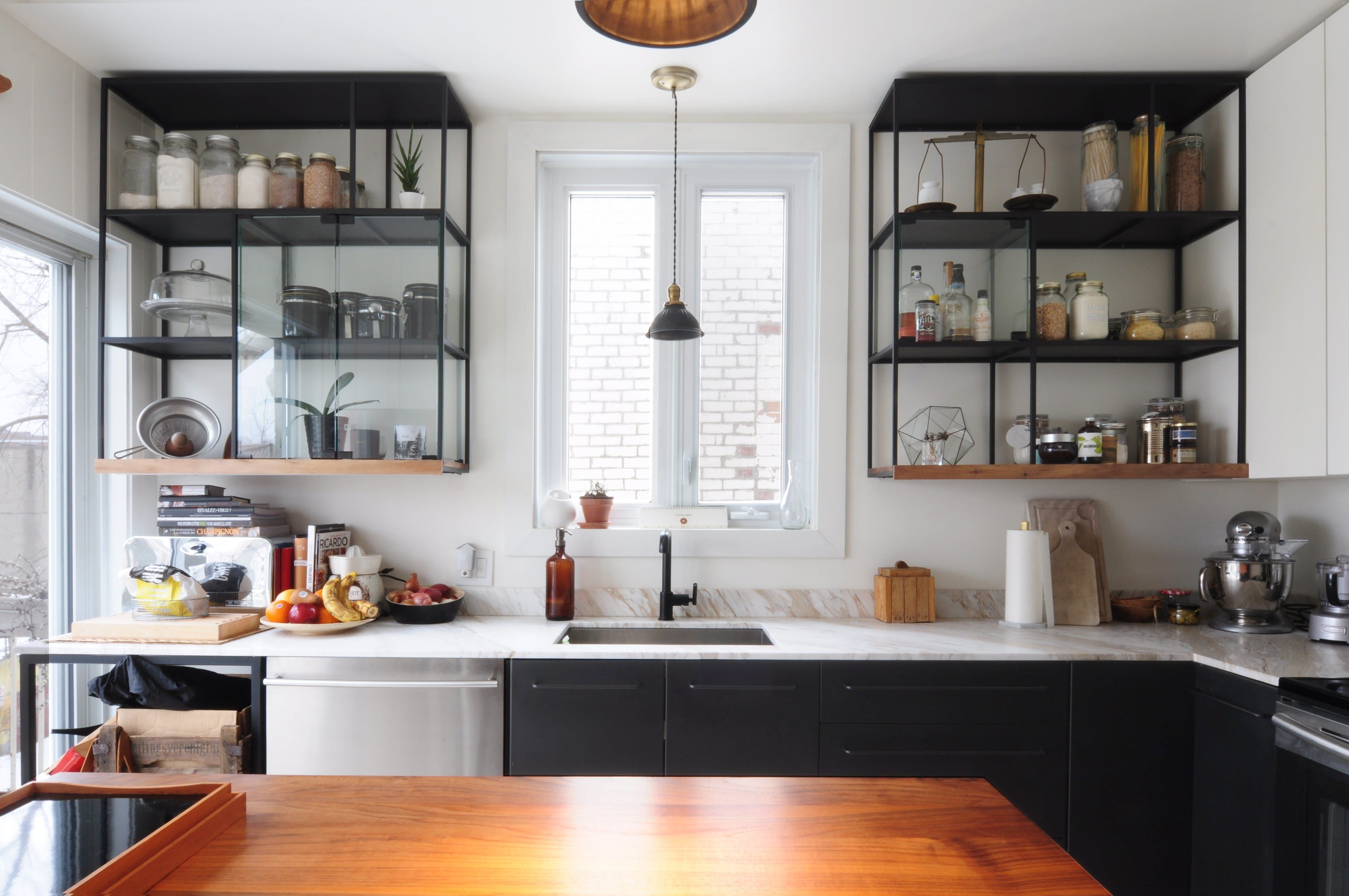Shelf over kitchen window  a fresh paint color we love for the kitchen so no itus not white