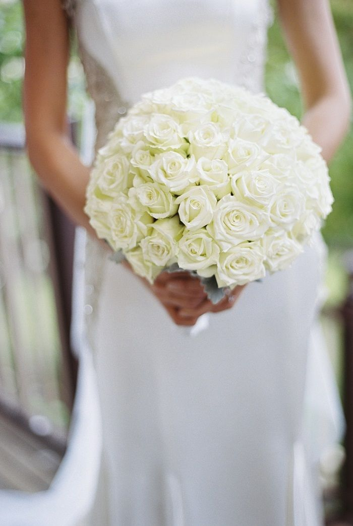 White roses winter bouquet for A Big Fat Greek Winter Wedding | I take you