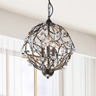 Holly Antique Copper Iron Orb Shaped Crystal Leaves Chandelier