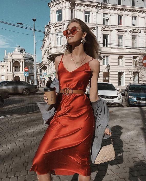 b469bf45fb4 Silk bias red slip dress Silk slip Silk camisole Red silk dress Adjustable  straps Valentines day dre