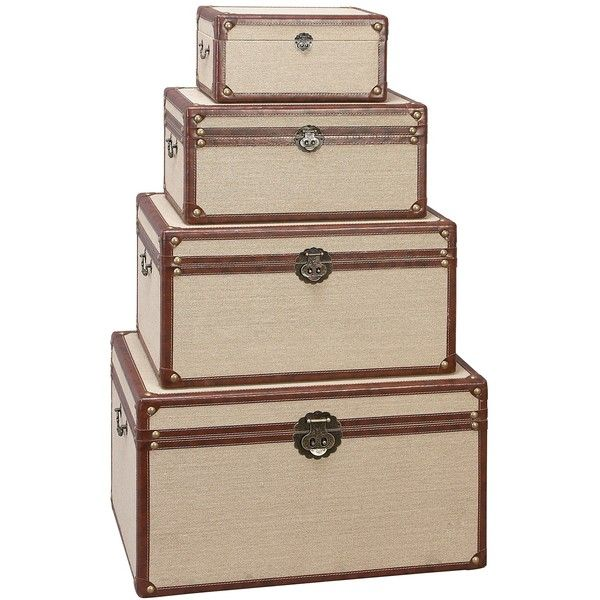 Wooden Burlap Trunks Set Of 4 240 Liked On Polyvore Featuring Home