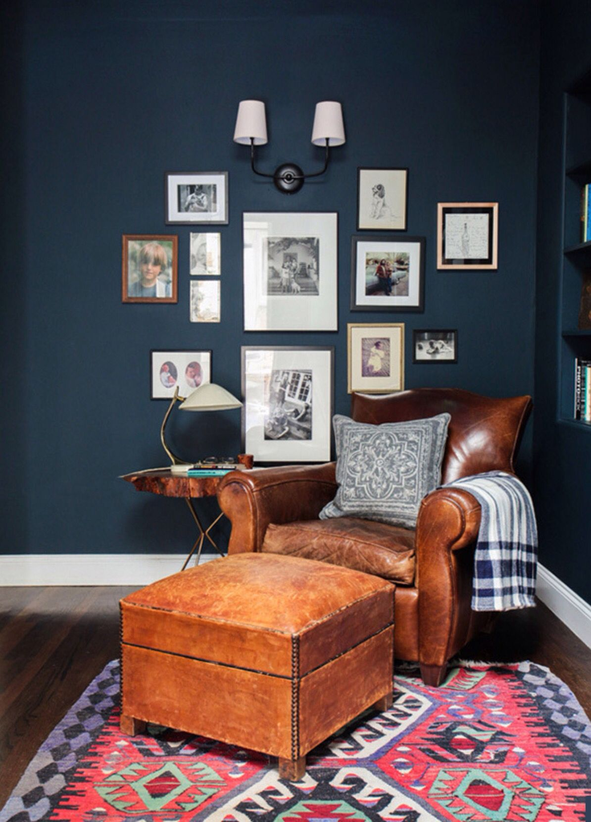 Best Vintage Leather Chair In Bourbon With Navy Walls And Gallery Wall Living Room Inspiration 400 x 300