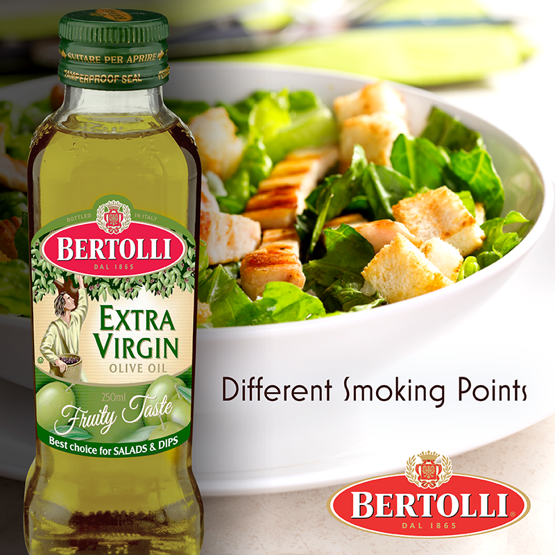Different oils have different smoking points. Bertolli Extra Virgin Olive Oil has a lower smoking point & is therefore more suitable for cold dishes such as salads and dips.