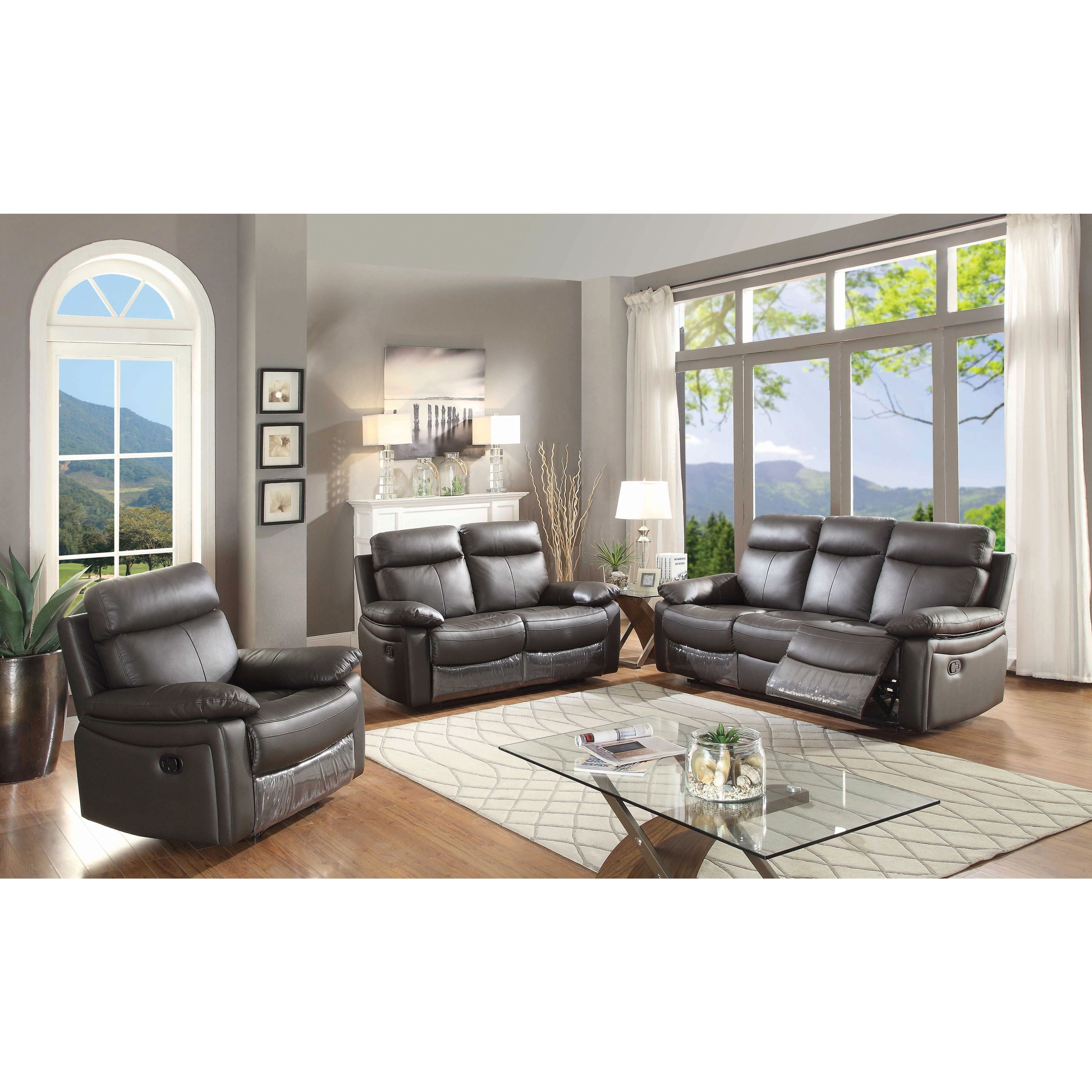 AC Pacific Ryker Contemporary Leather 3-piece Sofa Set with 5 Recliners (Brown)