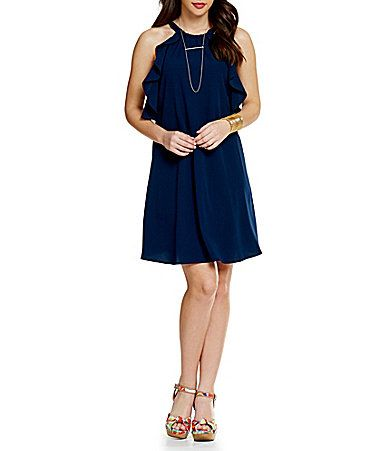 GB Ruffled Halter Dress #Dillards