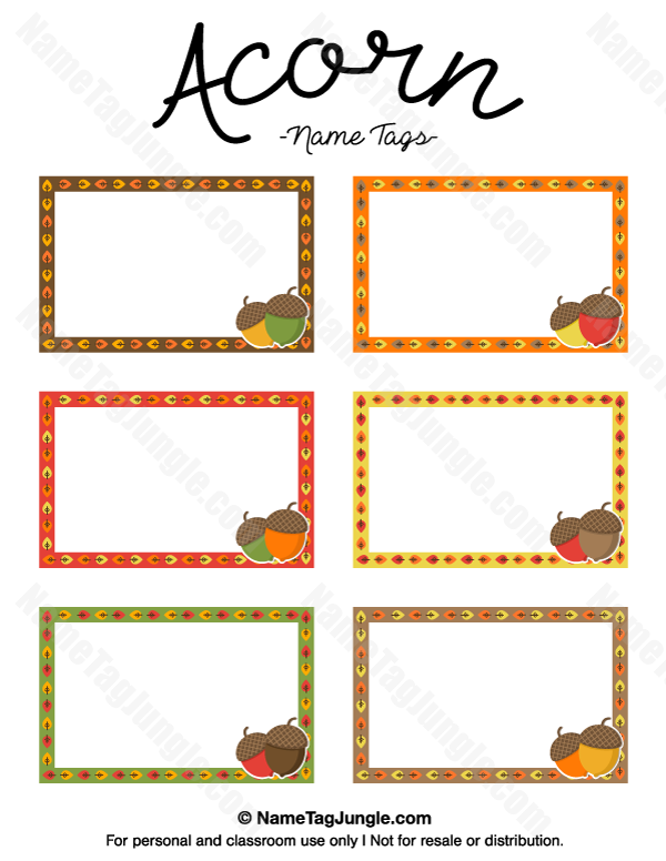 Free printable acorn name tags in fall colors. The template can ...