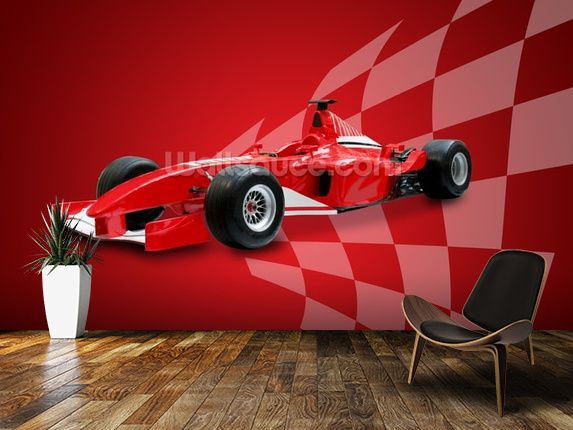 Red Racing Car wall mural room setting If I were a 5 year old car