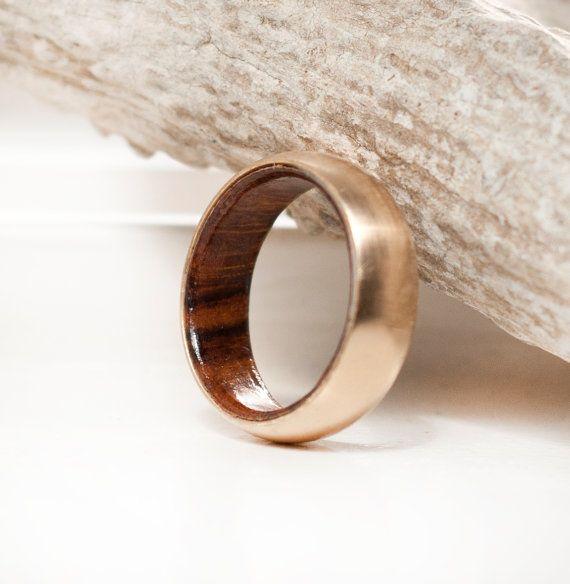 Unique Men S Ring 14k Gold Wood Lined Wedding Band Etsy In 2021 Unique Mens Rings Rings For Men Mens Wedding Bands