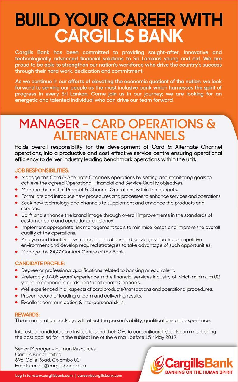 Manager  Card Operations  Alternate Channels At Cargills Bank