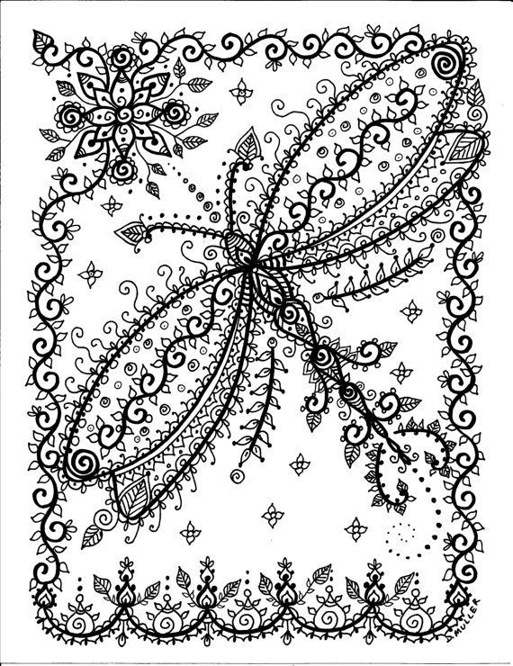 Butterflies Dragonflies Henna Coloring Book Page Dragonfly Butterfly