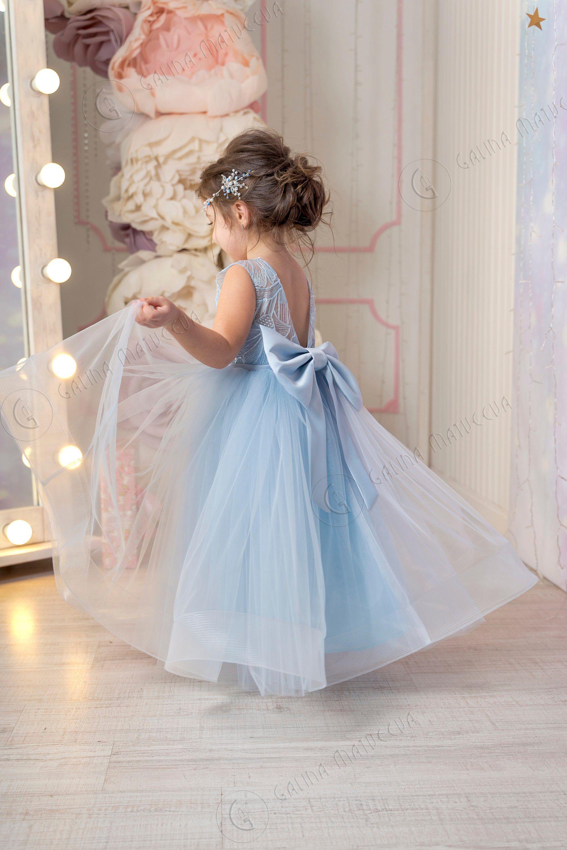 Dusty blue flower girl dress vneckline back bow first