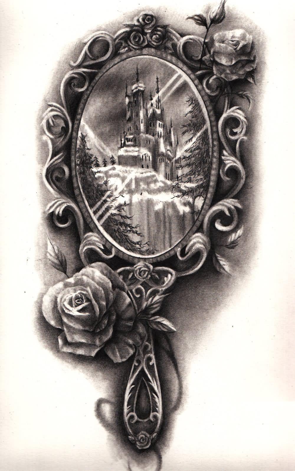 Small Mirror Tattoo: Nice Victorian Hand Mirror Tattoo Design