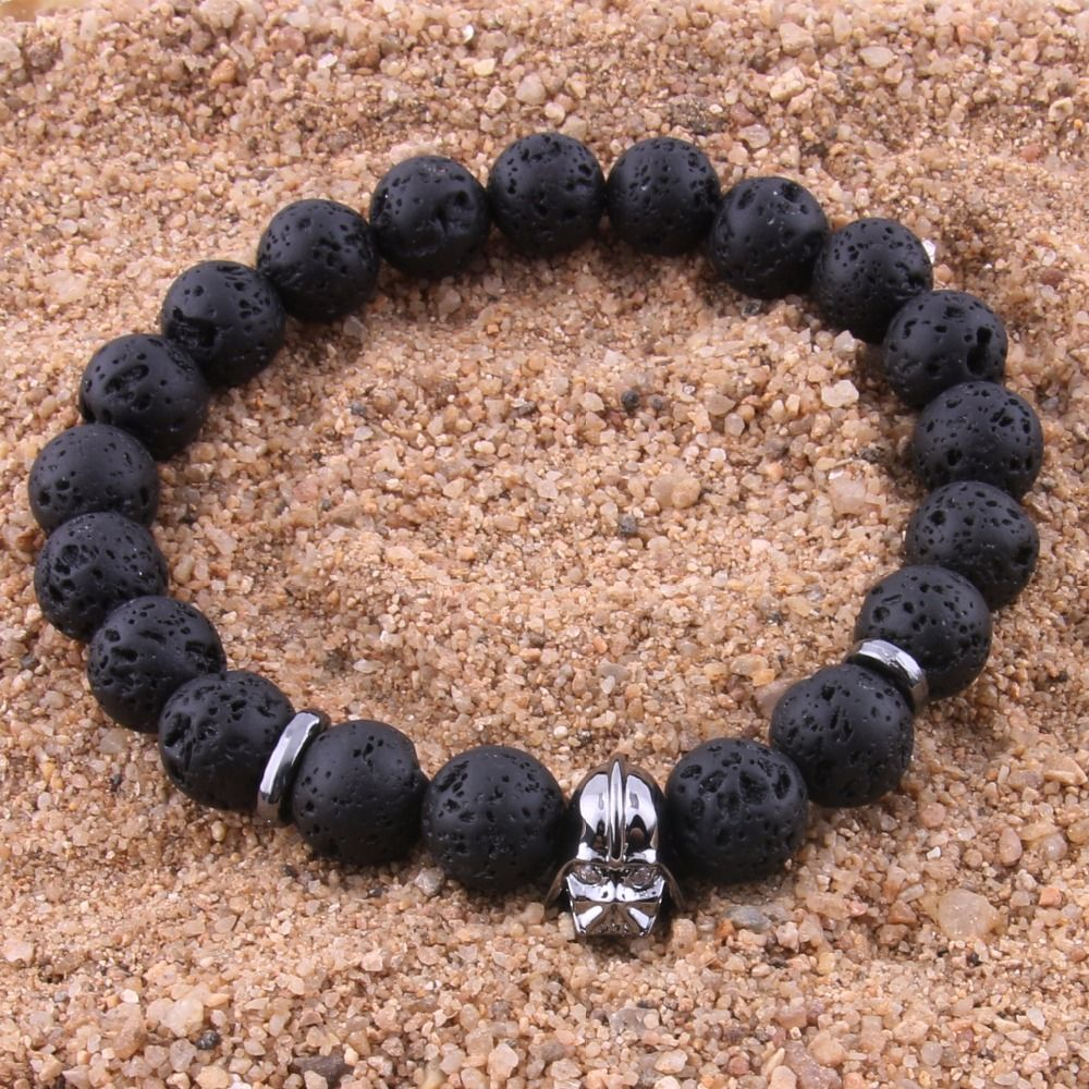 Men bracelet ore stone black boulder natural stone trendy wood bead