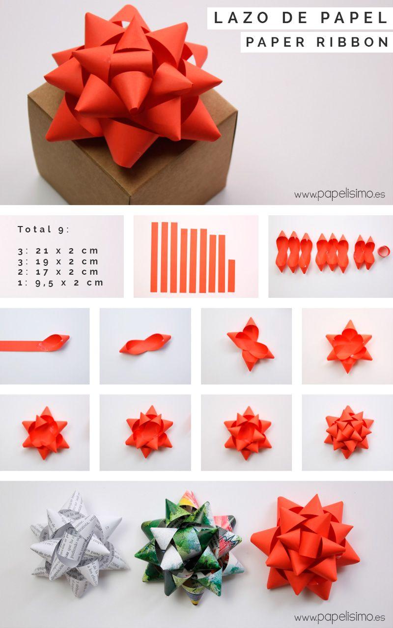 Tutorial c mo hacer lazos de papel para envolver regalos - Decoracion con cintas de papel ...