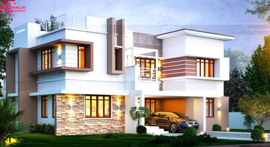 Below 30 Lakhs 4 Bedroom Residence Compactly Arranged Internal Spaces Internal Courtyards Mezzani In 2020 Bungalow House Design Duplex House Design Kerala House Design