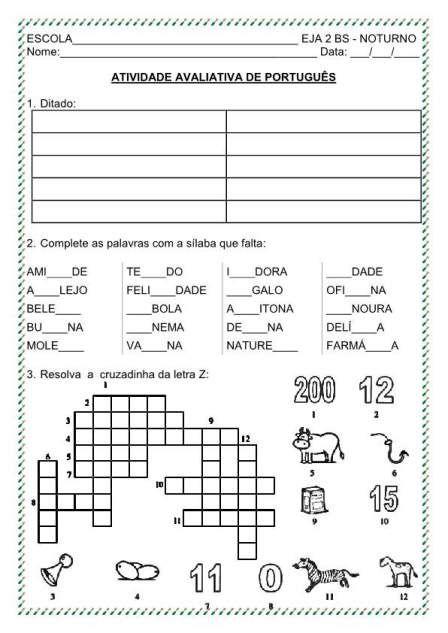 Avaliacao Eja 3º Bim Portugues Com Imagens Atividades