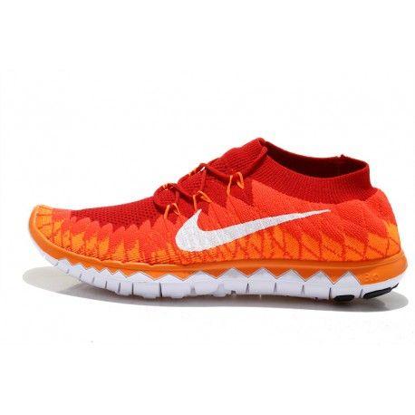 Discount Men's Nike Free Run 3.0 Flyknit Shoes OrangeWhite