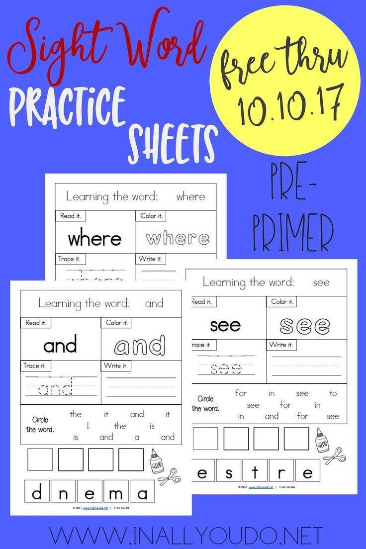 Worksheets Primer Sight Word Worksheets pre primer sight words worksheets and worksheets