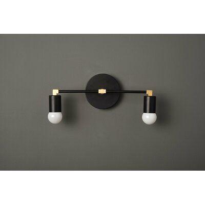 Wrought Studio Kistner 2 Light Vanity Light Finish Black Brass Vanity Lighting Black Vanity Bathroom Bathroom Vanity Lighting