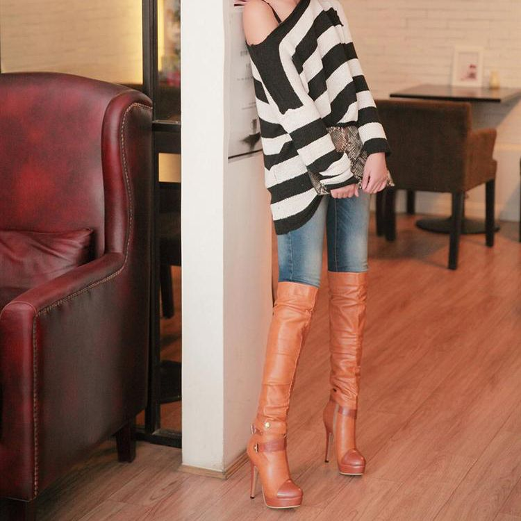 High Heel Over The Knee Brown Winte | Winter fashion, Toe and ...