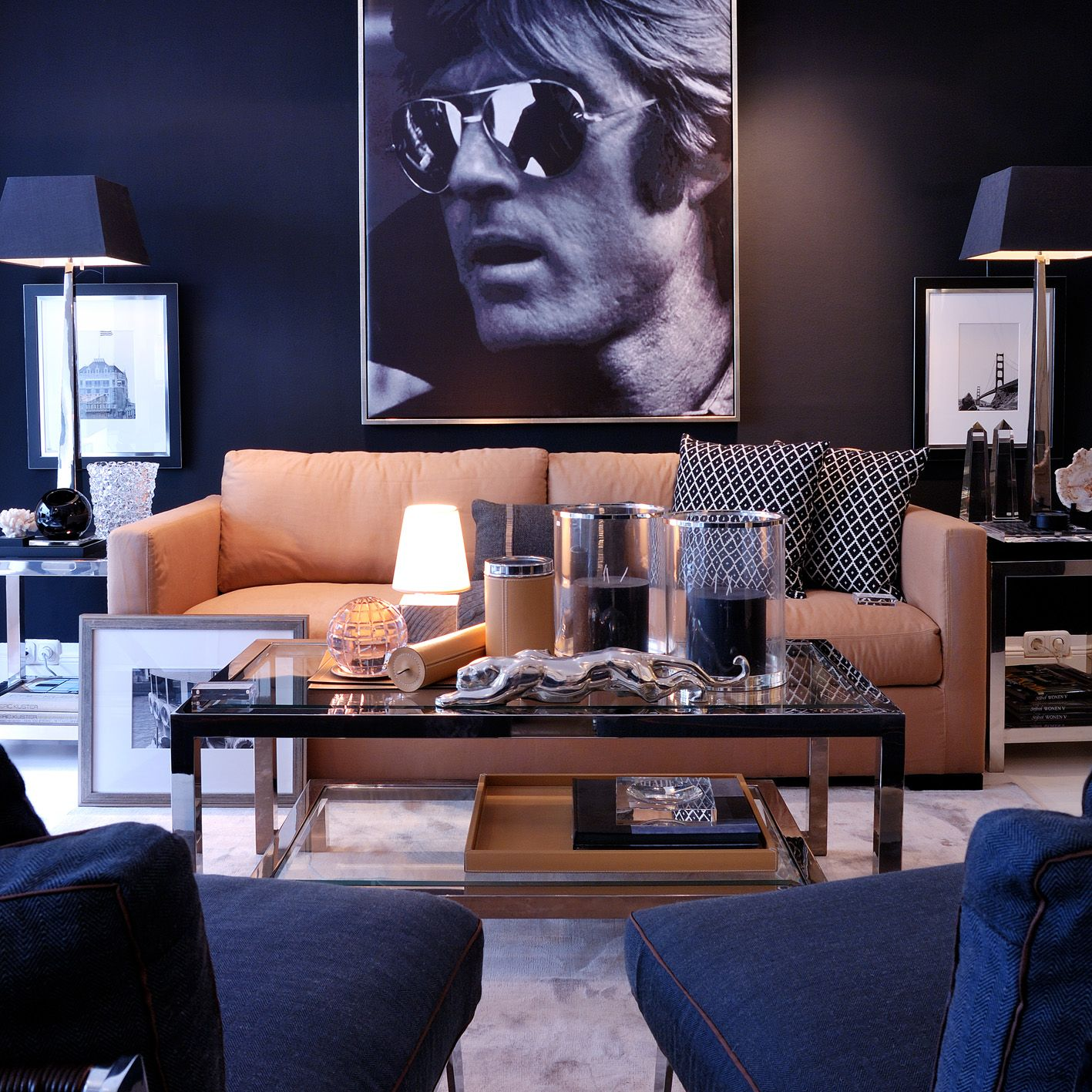 Elements At Home Hollywood Interior Style Crush Trendy Living Rooms Tan Walls Living Room Masculine Living Rooms #tan #and #navy #living #room
