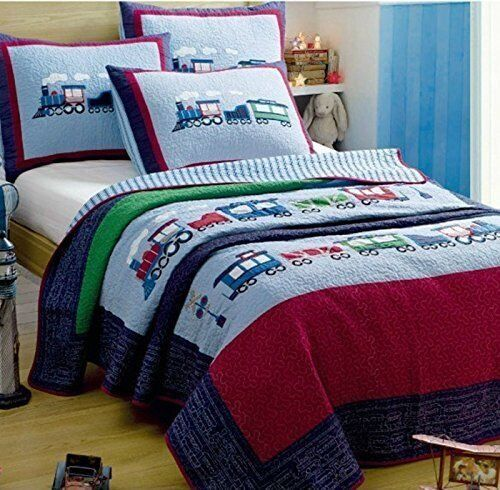 LELVA Children's Bedspreads Set Kids Bedding Boys Train Bedding ... : twin size quilts and coverlets - Adamdwight.com