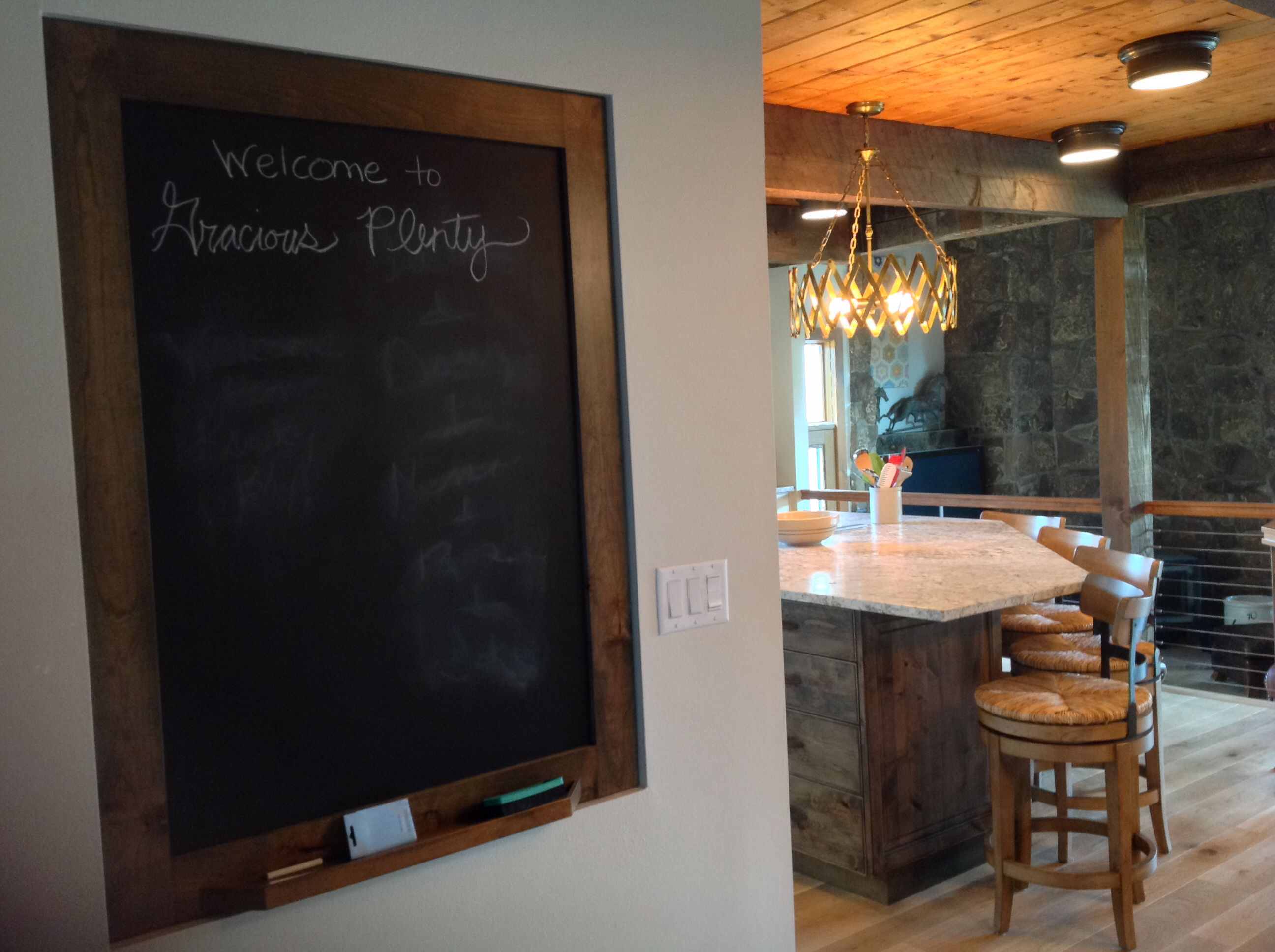 Chalkboard wall on the way to the kitchen