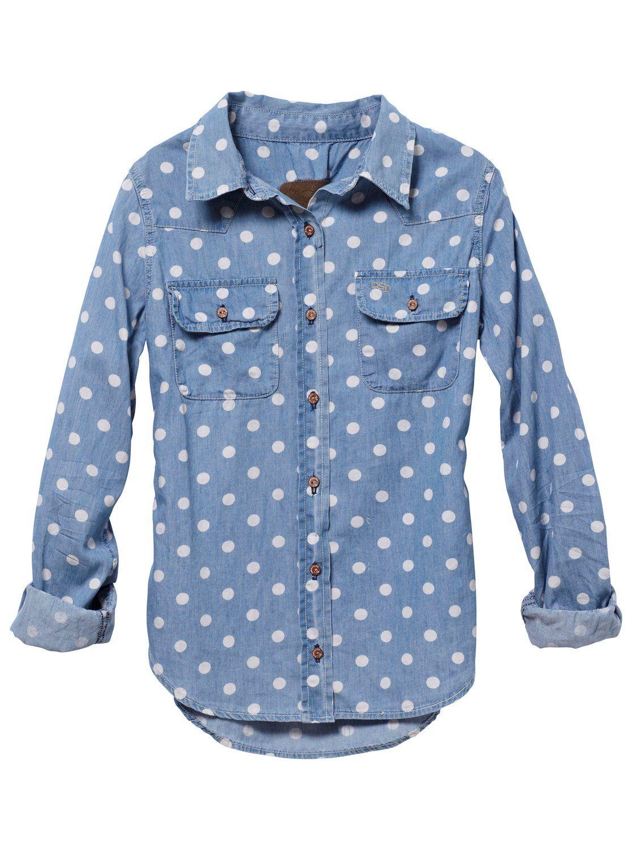 polka dot denim shirt