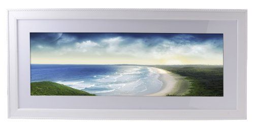 30 X 10 Panoramic Picture Frame With White Mat 2 5 Inch Profile Wall Mounted Pine Wood White H Panoramic Picture Frames Panoramic Pictures Picture Frames