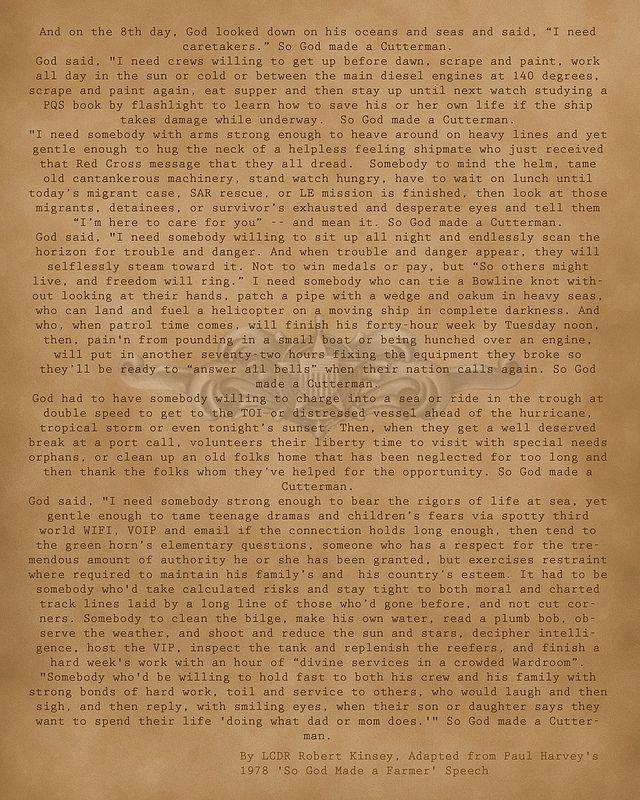 "Coast Guard poem ""So God Made A Cutterman"""