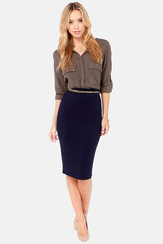 Getting Haute in Here Navy Blue Pencil Skirt | Belt, Dark and Navy ...