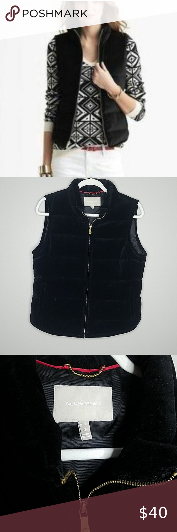 Banana Republic Black Velvet Vest, PM Banana Republic Black Velvet Vest, Size Petite Medium, Zips up the Front with two working pockets.  Shell-100% Cotton, Body Lining-100% Polyester, Filler-Down and Feathers.  Measures approximately 23