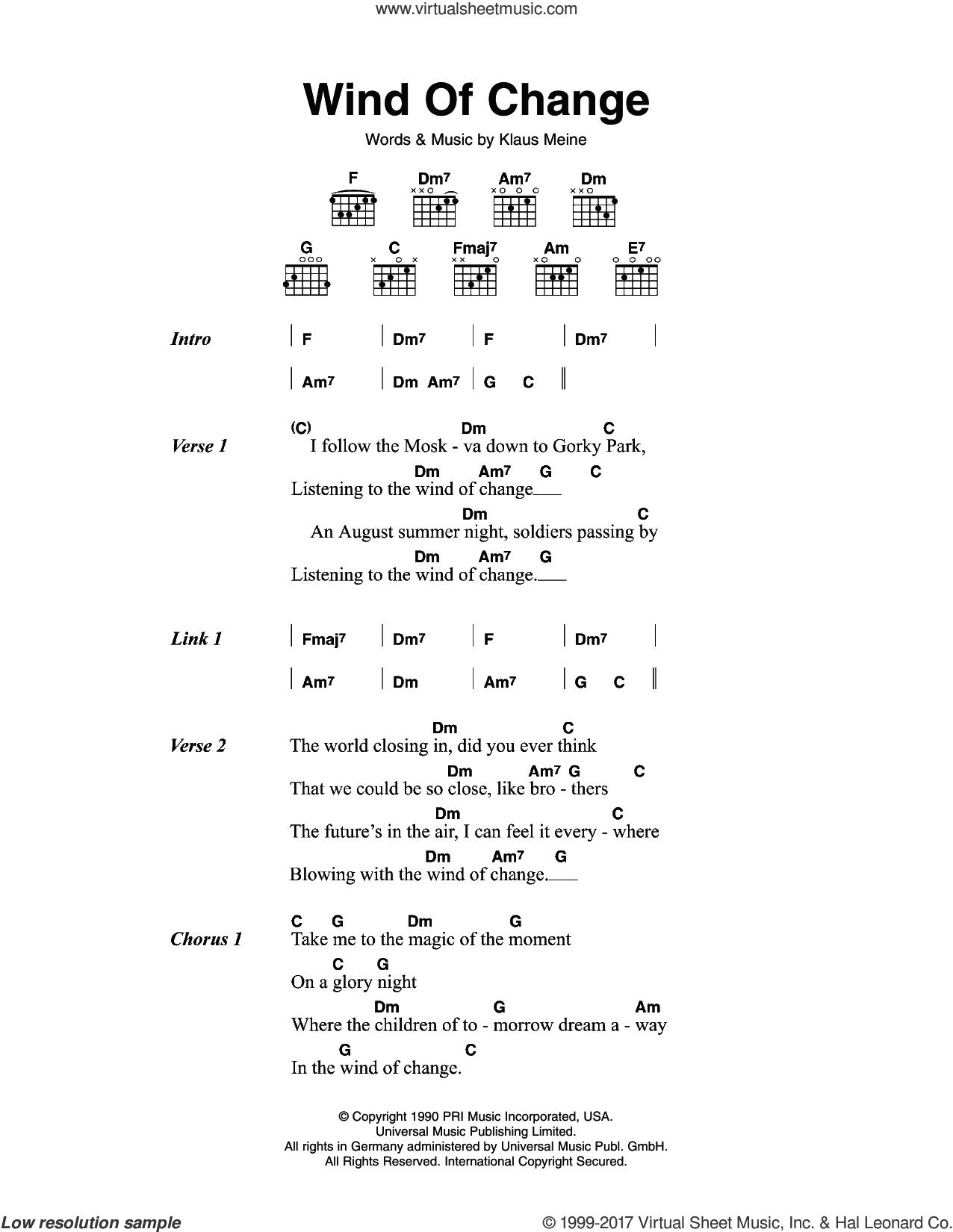 Scorpions – Wind Of Change sheet music for guitar (chords) [PDF] – Michael Ashton