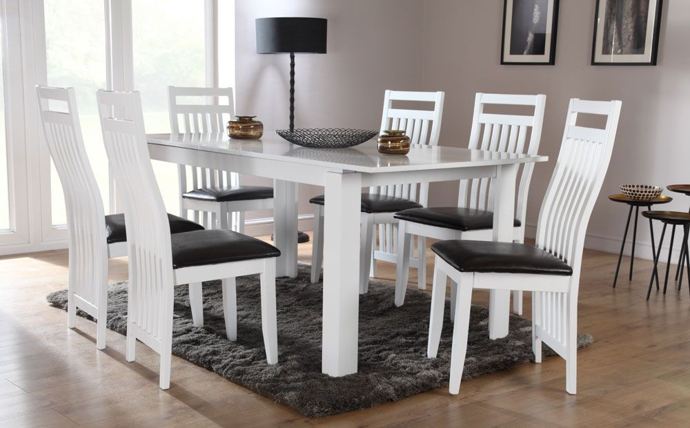 Aspen White Extending Dining Table And 6 Chairs Set Java Only Brilliant White Dining Room Table And 6 Chairs Inspiration