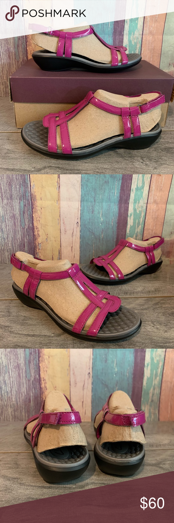 870c26eecf3 Clarks Women s Shoes Sandals Sonar Aster pink 6.5 Clarks Women s Shoes  Patent T-Strap Sandals Sonar Aster Pink Fuchsia Size 6.5 Clarks Shoes  Sandals