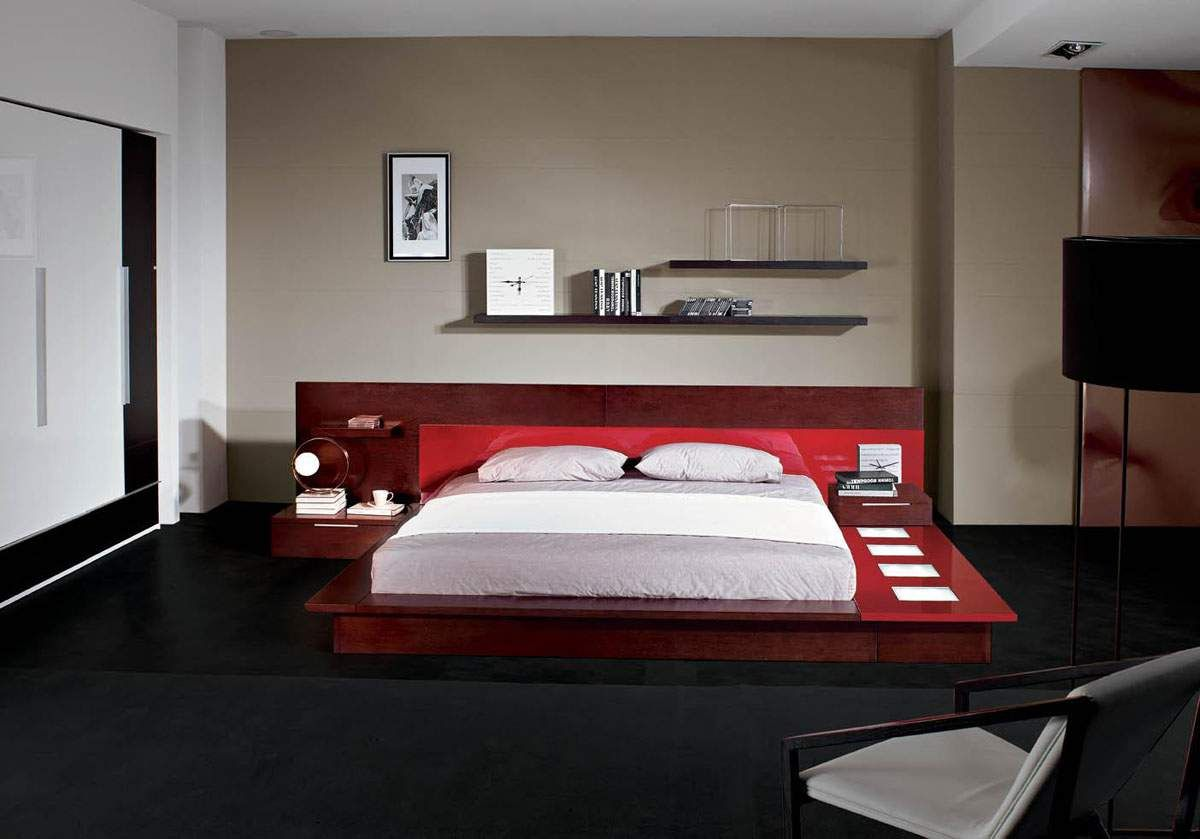 comfy wooden bed with red headboard on the black carpet blend with floating shelves on the brown wall idea showing awesome and modern bedroom through